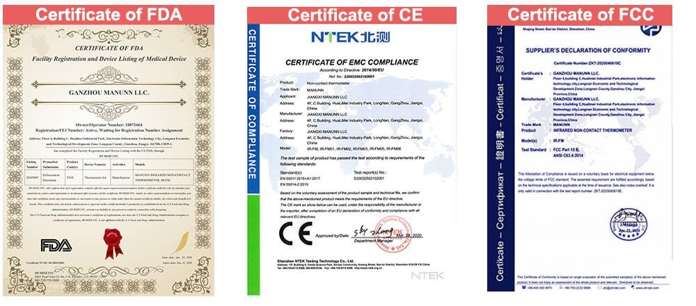 Infrared Thermometer Certificates