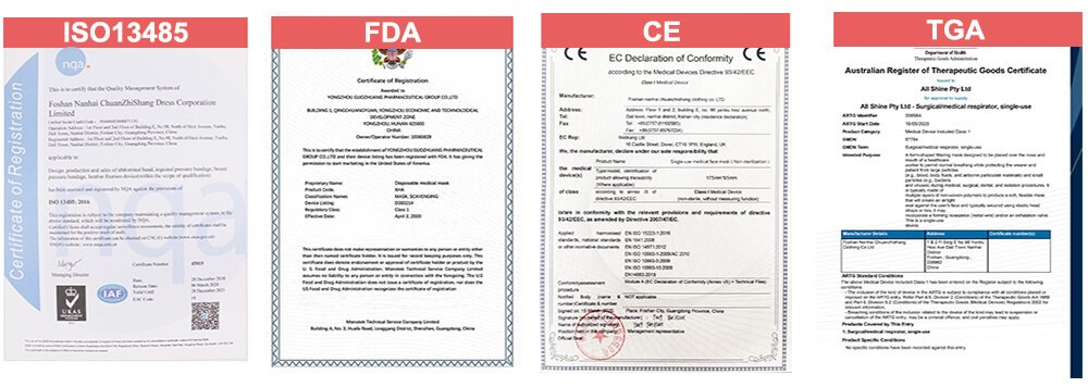Medical Face Mask certificates